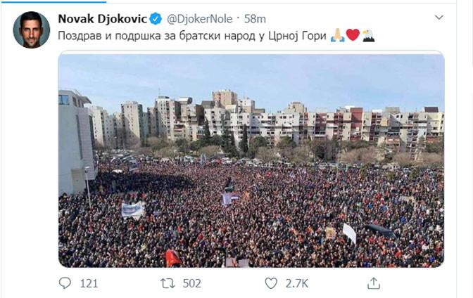 Новак Джокович поддержал протесты в Черногории