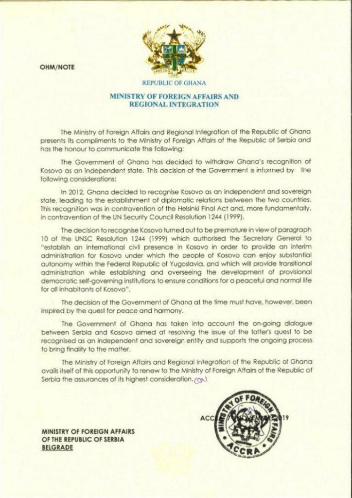 Гана против независимости Косово